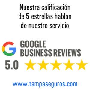 Calificacion en Google para Tampa seguros